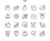 Vegetables Well-crafted Pixel Perfect Vector Thin Line Icons 30 2x Grid for Web Graphics and Apps