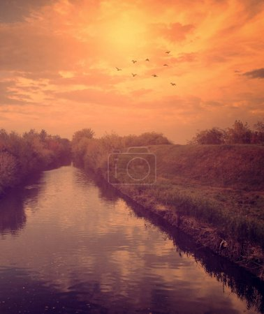 Photo for Beautiful sunset over the lake - Royalty Free Image