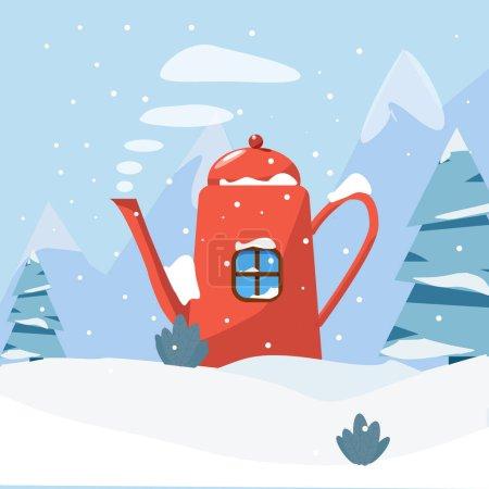 Illustration pour Magnifique paysage hivernal avec arbres et montagne, neige, maison fantaisie - image libre de droit