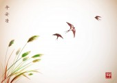 Flying swallows over green reed plants in traditional Japanese ink painting