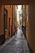 Stockholm/Sweden - October 27 2018 : Gamla stan or old street of Stockholm duing weekend. People come here for shopping and enjoin cafe in the town.