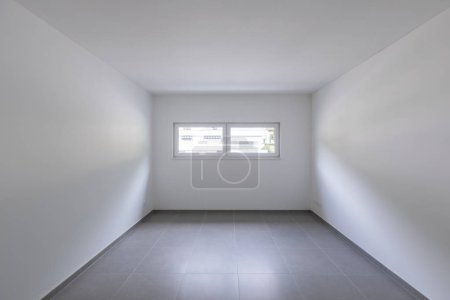 Photo for Empty room and white walls with window with a view. Nobody inside - Royalty Free Image