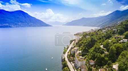 View of Brissago overlooking Lake Maggiore in Switzerland. Nature