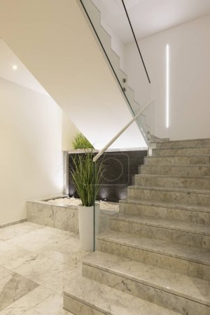 Photo for Modern marble staircase of luxury condominium. Nobody inside - Royalty Free Image