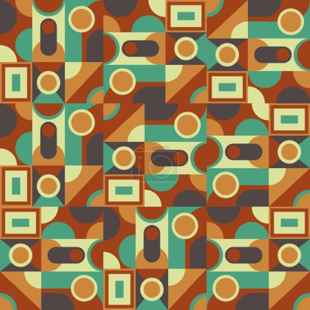 Illustration for Abstract geometric style retro color vector background. Fabric, carpet, paper ornament design - Royalty Free Image