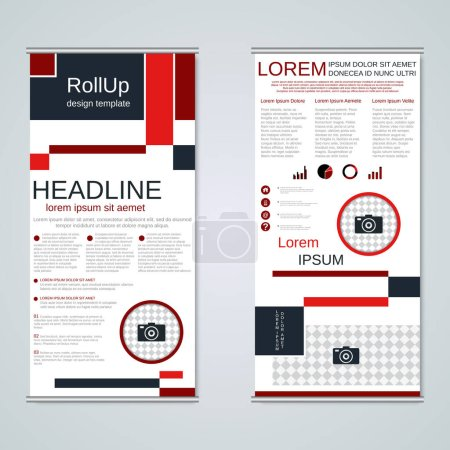 Modern geometric roll-up business banners, two-sid...