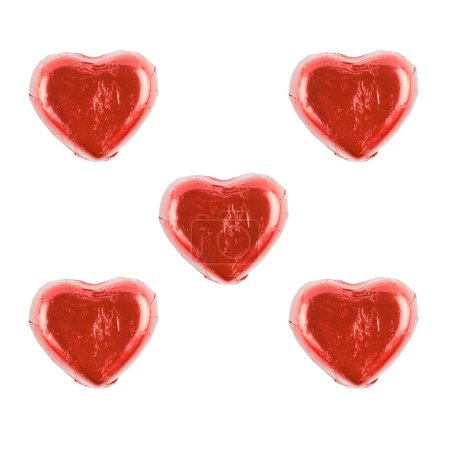 Photo for Chocolate candy red heart isolated on white background. - Royalty Free Image