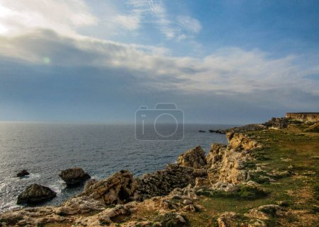Beautiful landscape of quite place with cliffs near the Golden bay, Mellieha, west of Malta, Europe