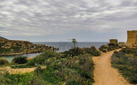 Hiking trail nearby Qarraba natural wonder, beautiful landscape between Gnejna bay and Ghajn tuffieha bay (Riviera), Ta Lippija, Mgarr, Malta
