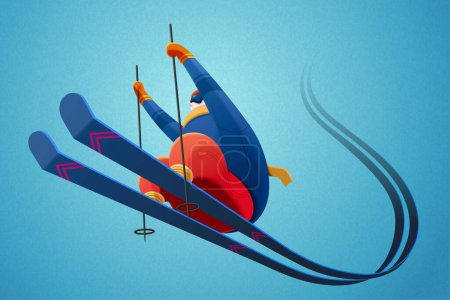 Professional alpine skier jumping in the air on blue background with speed trails