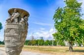 Public park by the Rhine in Duesseldorf Golzheim, Germany, in summer.