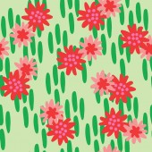vector Red flowers Green backgound Seamless pattern background