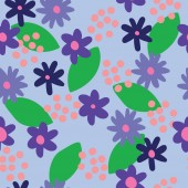 vector flat colour Blue flowers seamless pattern background