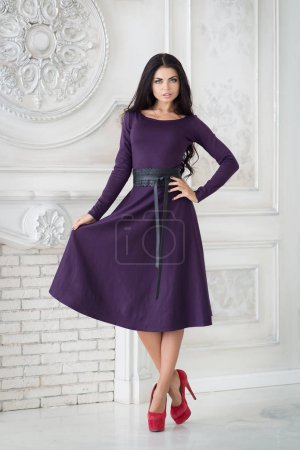 Photo pour Élégante femme brune en élégante robe pourpre classique dans un habitacle - image libre de droit