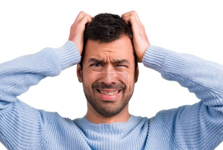 Photo for Handsome man unhappy and frustrated with something. Negative facial expression - Royalty Free Image