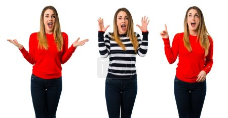 Set of Blonde youn girl with surprise and shocked facial expression