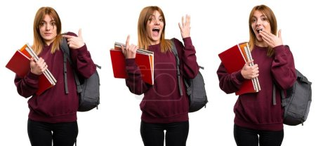 Set of Student woman making surprise gesture