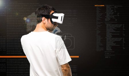 Man using VR glasses inside the virtual reality mode