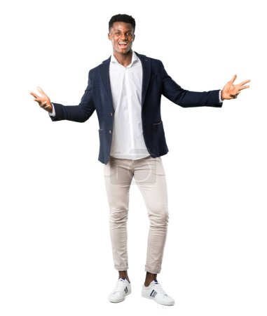 Full body of Handsome african american man wearing a jacket proud and self-satisfied in love yourself concept on white background