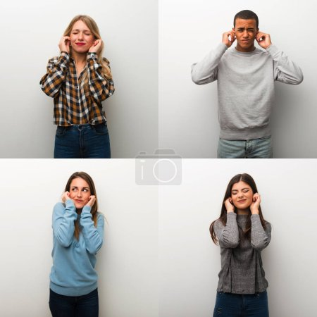 Photo for Collage of people covering ears with hands. Frustrated expression - Royalty Free Image