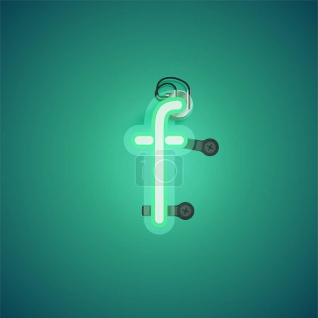 Photo for Green realistic neon character with wires and console from a fontset, vector illustration - Royalty Free Image