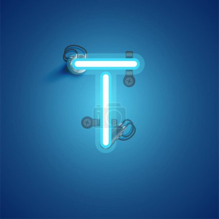 Photo for Blue realistic neon character with wires and console from a fontset, vector illustration - Royalty Free Image