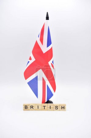Flag of the United Kingdom isolated with the word British.