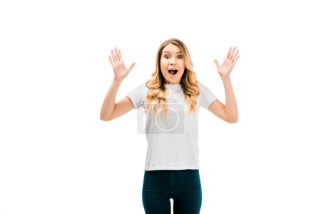Photo for Shocked young woman gesturing with hands and looking at camera isolated on white - Royalty Free Image