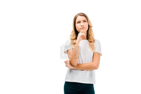 Photo pour Belle fille réfléchie debout avec la main sur le menton et en levant isolé sur blanc - image libre de droit