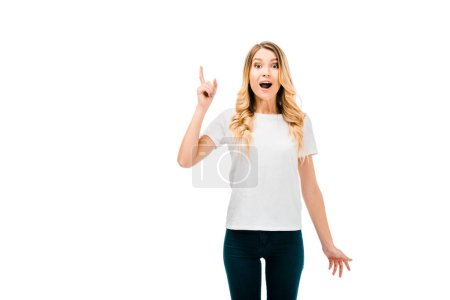 emotional young woman pointing up with finger and looking at camera isolated on white
