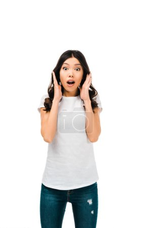 scared young woman with open mouth looking at camera isolated on white