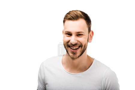 portrait of handsome bearded young man in white t-shirt smiling at camera isolated on white