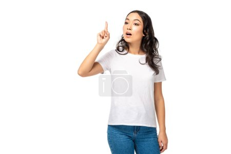 Photo for Surprised asian woman showing idea sign isolated on white - Royalty Free Image