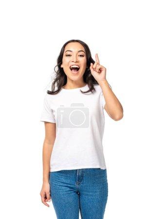 aufgeregt asiatische Frau zeigt Idee Geste isoliert auf weiß