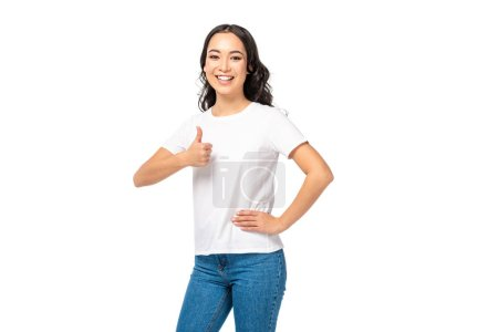 Photo for Smiling asian woman showing thumb up isolated on white - Royalty Free Image