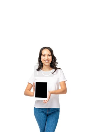Photo for Smiling asian woman holding digital tablet with blank screen isolated on white - Royalty Free Image