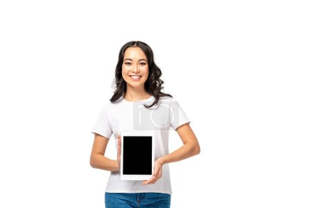 Photo for Pretty asian woman holding digital tablet with blank screen isolated on white - Royalty Free Image