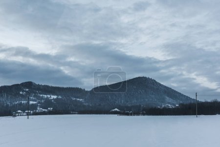 Photo for Scenic view of snowy carpathian mountains and cloudy sky in winter - Royalty Free Image