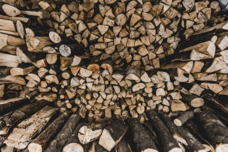 Photo for Top view of brown stacked cut firewood - Royalty Free Image