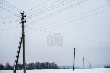 Photo for Electric poles with wires in field covered with snow - Royalty Free Image