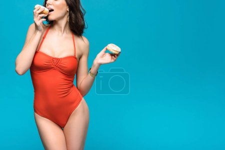 Photo for Cropped view of woman in swimsuit eating donuts isolated on blue - Royalty Free Image