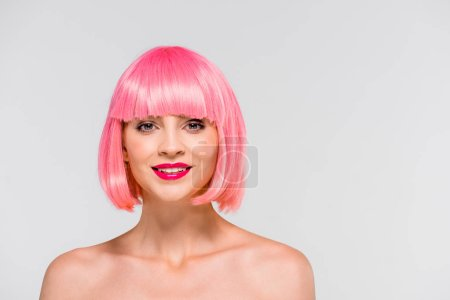 Photo for Happy naked girl in pink wig isolated on grey - Royalty Free Image