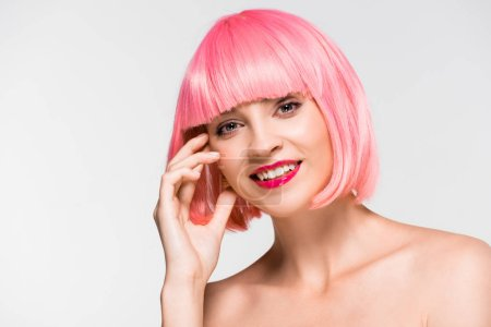 Photo for Attractive cheerful naked girl in pink wig isolated on grey - Royalty Free Image