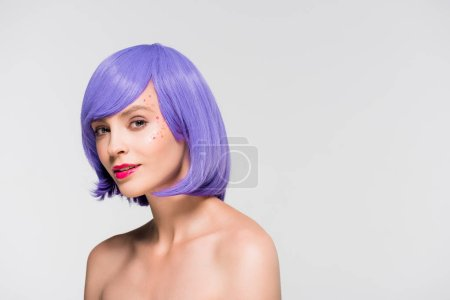 Photo for Beautiful naked girl in purple wig isolated on grey - Royalty Free Image