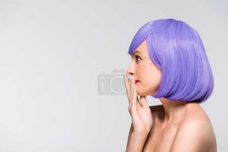 Photo for Shocked naked girl in purple wig isolated on grey - Royalty Free Image
