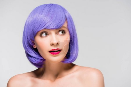 Photo for Stylish naked girl in purple wig isolated on grey - Royalty Free Image