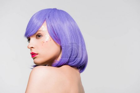 Photo for Pretty naked girl in purple wig isolated on grey - Royalty Free Image