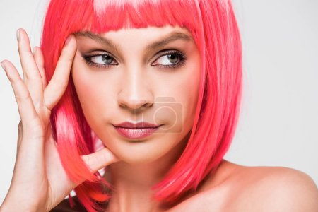 Photo for Thoughtful young woman in pink wig isolated on grey - Royalty Free Image