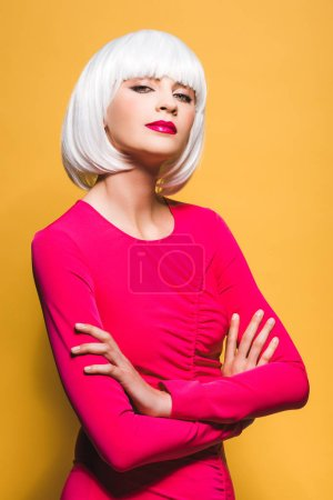 Photo for Attractive girl in white wig isolated on yellow - Royalty Free Image