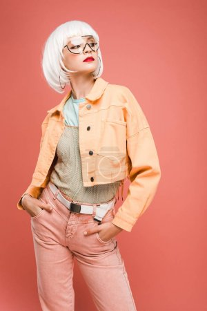 Photo for Stylish girl posing in white wig isolated on pink - Royalty Free Image